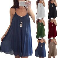 Women's Cami Sleeveless Mini Slip Dress Summe Casual Holiday Sundress Pluse Size