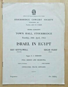 Israel In Egypt programme Stourbridge Concert Society 28/04/1964 Lily Kettlewell