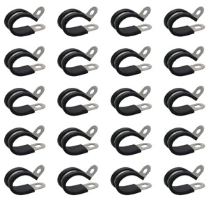 """20 Pcs 3/8"""" Rubber Cushioned Insulated Wire Clamp Cable Holder Stainless Steel"""