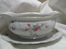 Vintage Winterling Bavaria Germany Floral Gravy Boat With Attached Underplate