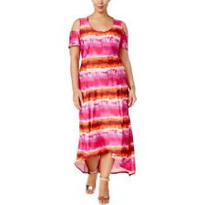 NY Collection Plus Size Cold-Shoulder Tie-Dyed Maxi Dress 1X Pink-Orange #4090