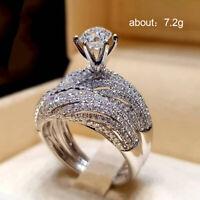 47x36mm Romantic 9g Moon Shape White Sapphire Wedding Ladies Silver Earrings
