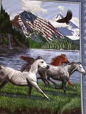 New listing Horses running, Eagle flying over lake, American flag covering mountain patriot