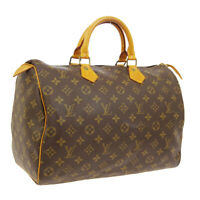 LOUIS VUITTON SPEEDY 35 HAND BAG VI884 PURSE MONOGRAM CANVAS M41524 AUTH A46662j