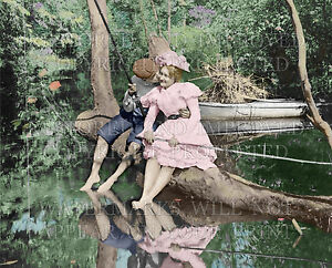 Romantic Victorian photo, boy & girl fishing, stealing kiss 1899 colorized 8x10
