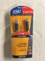 NEW Belkin Pro Series 6' USB 2.0 Hi-Speed Cable A / B Male F3U133-06 Black Foot