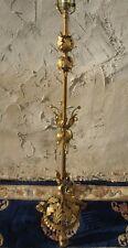 VINTAGE ITALIAN MID-CENTURY HOLLYWOOD REGENCY FLOOR LAMP TOLE GILT METAL FLOWERS