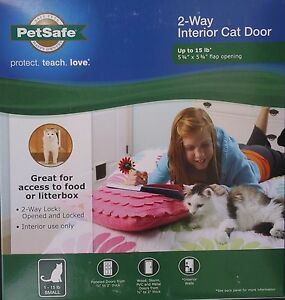 "PETSAFE CAT 2-WAY FLAP CAT DOOR CATS Up To 15 LB, 5.8"" X 5.8"""