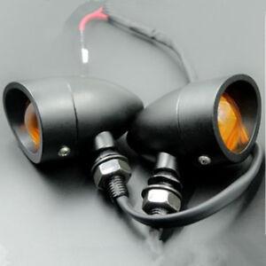 Black Motorcycle Metal Bullet Indicator Turn Signal Light Bulb For Honda Harley