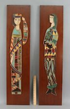 Pr HARRIS STRONG Modernist Abstract Ceramic Wall Plaque Sculptures of Women