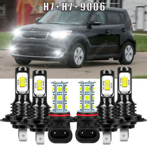 For Kia Soul EV 2015 2016 2017 H7 H7 LED Headlight Bulbs Hi/Lo + 9006 Fog Lights