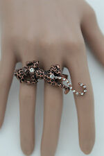 New Women Bronze Metal Ring Fashion Jewelry Double Fingers Leopard Tiger Panther