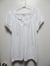 Kim Rogers White Cotton Pullover Casual Top, sz L