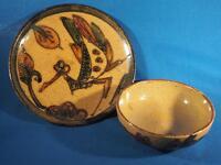 Vintage Matched Bowl & Plate Set Pottery