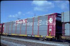 Original train slide ATSF SANTA FE AUTORACK 905591, 1984