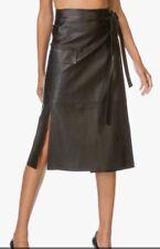 Helmut Lang Wrap Skirt Black Leather Cargo Pocket Tie Waist Slit Size Xs NWT