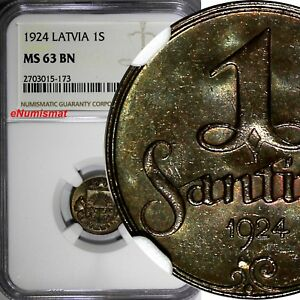LATVIA Bronze 1924 1 Santims NGC MS63 BN Toning Struck at Switzerland.KM# 1