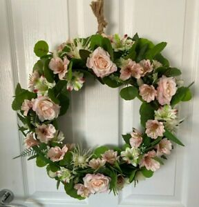 Gorgeous Pink Rose Wreath 50x50x14cm, Handmade, Quality Artificial Flowers