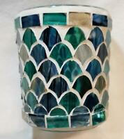 Yankee Candle Votive Holder FRESH OCEAN MOSAIC Cut Glass Blue Green & 2 Votives