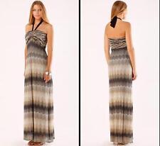 Hale Bob Vacation Time Halter Maxi Dress Size Medium 8 10 NWT Neutral Long $356