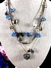 Betsey Johnson Violet Émail Fleur de Cristal Pendentif Collier Long//Broche