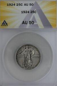 1924  .25  ANACS  AU 50   Standing Liberty Quarter,Liberty 25 Cents