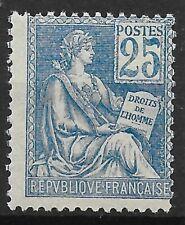 FRANCE MOUCHON 25c BLEU N° 114 NEUF * GOMME AVEC CHARNIERE - COTE 135 €