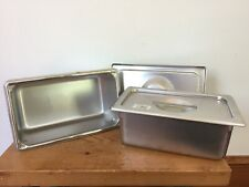 Pair 2 Vollrath Super Pan Stainless Steel 3 Qt Serving Catering Buffet Pans Lids