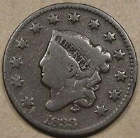 1833 Coronet Head Large Cent Decent Lower Grade Coin