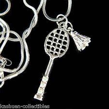 ~Badminton Racket Shuttlecocks made with Swarovski Crystal Racquet Ball Necklace