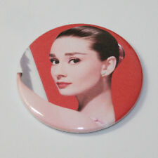 AUDREY HEPBURN PIN BUTTON Beautiful Funny Face (Red) Classic Movie Star Pinback