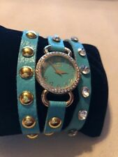 Just Jewelry Womens Wrap Watch Adjustable Turquoise Gold Studs Clear Gems