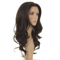 Penelope | Long Curly Natural Human Hair Blend Lace Front Wig | Brown, Black