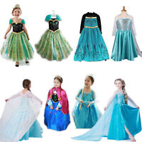 Kids Girls Frozen Queen Elsa Anna Princess Cosplay Costume Party Fancy Dress