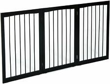 Durable Free Standing Folding Pet Gate Dog Fence Indoor Child Safety Dark Brown