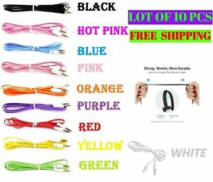3.5mm AUX AUXILIARY CORD Male Stereo Audio Cable 3FT iPod MP3 CAR Phone LOT OF10