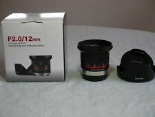 Samyang 12mm F2.0 NCS CS Lens for Fujifilm X-Mount - Black (Open Box)