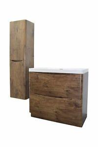Waschtisch Bodenstehend SF 90 cm Rosenholz 2 Schubladen Badmöbel Set