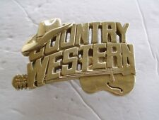 Belt Buckle Music Country Western Brass Gold Tone Vintage Nos