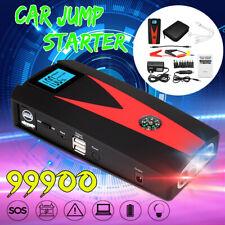 99900mAh LED Car Jump Start Starter 2 USB Charger Battery Power Bank Booster 12V