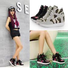 Women Sneakers Sports Comfort Camouflage Hidden Wedge Heel High Top Shoes JJ