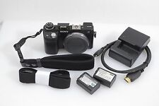 SONY NEX-6 BLACK DIGITAL CAMERA BODY w/2 BATTERIES & CHARGER, 18K ACTS, NICE
