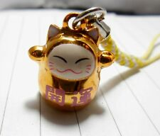 1 Golden Maneki Neko Cell Phone Hanging Japanese Cat For Lucky Charm Bell Inside