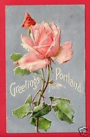 GREETINGS FROM PORTLAND OR  LARGE LETTER ROSES TRAEGER DEFIANCE OH 1910 POSTCARD