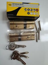 1 pair 55/35 Yale 3 Star Euros Brass anti snap keyed alike with 6 keys