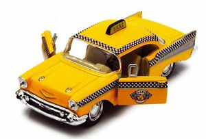 "Brand New 5"" Kinsmart 1957 Chevrolet Bel Air Taxi Diecast Model Toy Car 1:40"