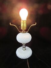 "Vintage Hobnail White Milk Glass Table Lamp Base - 9.25"" Tall"