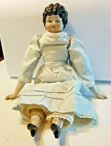 Vintage Porcelain China Head Doll with Cloth Body and Handmade Clothes