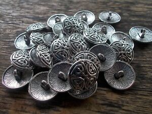 """Pack of 4 metal shank buttons celtic knot round """"antique silver"""" colour 17mm"""