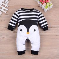 Newborn Baby Girl Boy Long Sleeve Penguin Print Romper Jumpsuit Pajamas Outfits